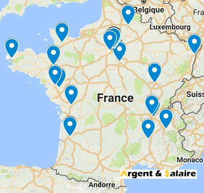 Carte de France du CrowdFuning Solidaire