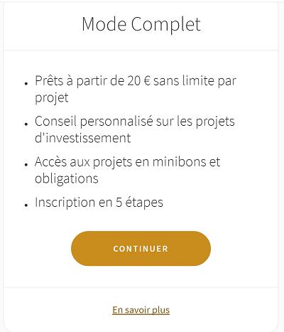 Lendopolis statut CIP - Inscription mode complet