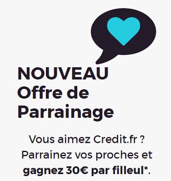 Credit.fr Code parrainage - Bonus inscription