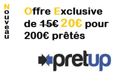20€ offerts via l'offre Exclusive parrain PRETUP