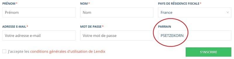 Code Parrainage LENDIX