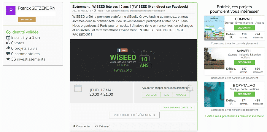 Wiseed fil d'actualité