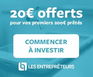 Bonus 20€ pour 200€ prêtés sur Les Entreprêteurs