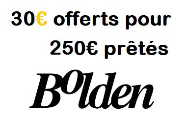 Offre parrainage BOLDEN - Code Bonus 30€