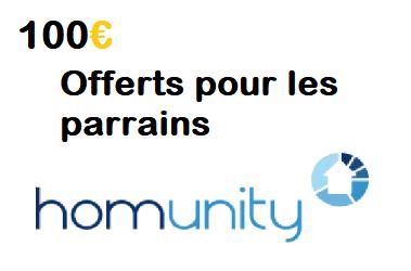 100€ offerts aux parrains via l'offre HOMUNITY Parrainage