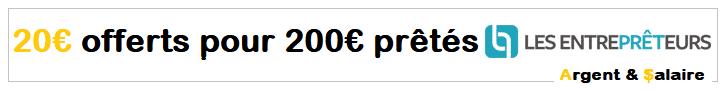 Bonus 20€ pour 200€ prêté sur Les Entreprêteurs