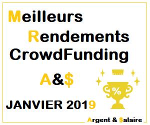 Meilleurs Rendements CrowdFunding Portefeuille A&$ Janvier 2019