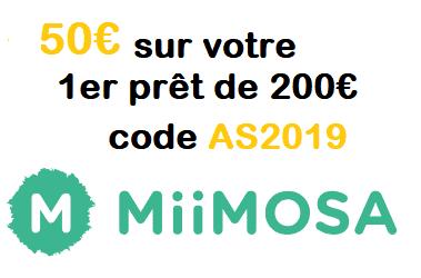 2 x 50€ offerts via l'offre de parrainage MiiMOSA