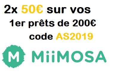 Offre Code Parrainage Miimosa - Bonus 50€