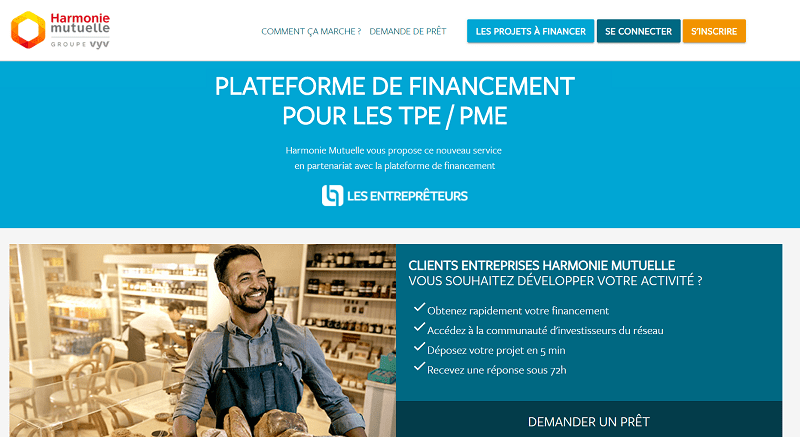 Harmonie Mutuelle Financement participatif en partenariat avec Les Entreprêteurs