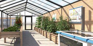 Serre aquaponique des Jardin du Saumonier Cherbourg