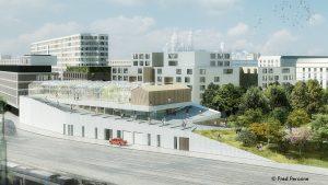 Vue du projet par archi5, architectes du projet de gymnase