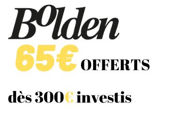 Offre parrainage BOLDEN - Code Bonus 65€