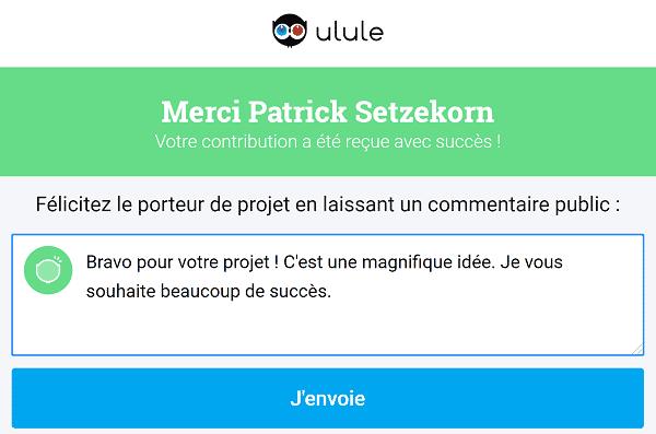Ulule - Don message d'encouragement