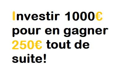 Comment investir 1000€ pour en gagner 195€ tout de suite?