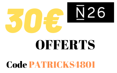 30€ offerts via le code Promo N26 et l'offre parrainage N26