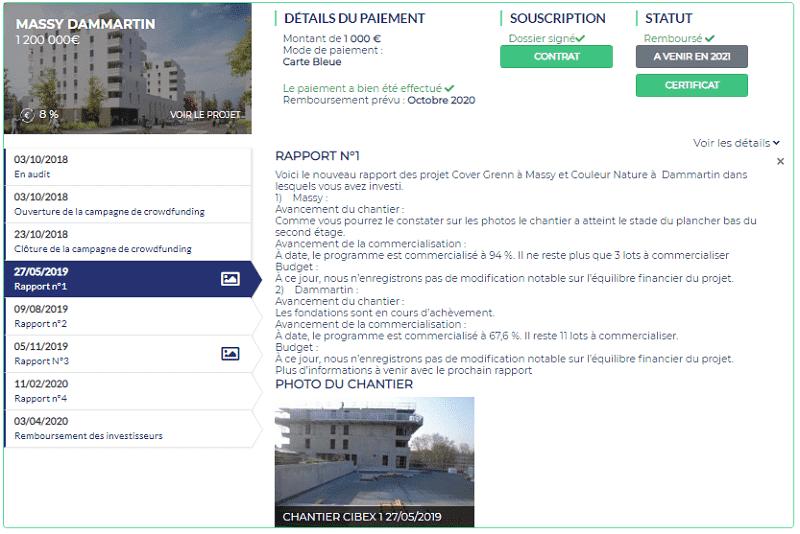 Avis Homunity - Fiche de suivi Investissement immobilier